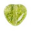 Glass Bead Cracked 8mm Heart Light Olivine - Strung